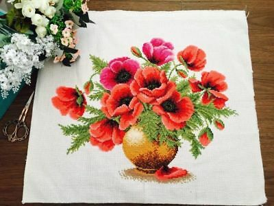 "NEW Finished completed handmade Cross stitch""POPPY""Home Decor Gifts"