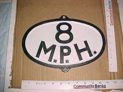 (2) Painted Oval Replica Antique Vintage Railroad 8 MPH Sign