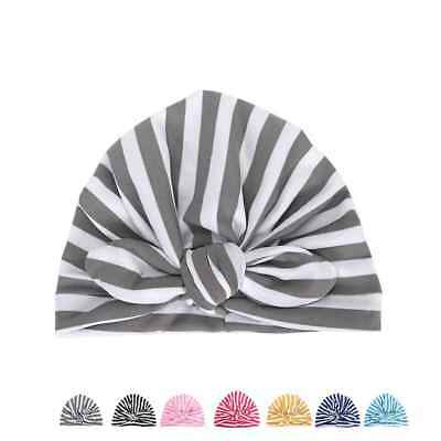 Kids Baby Girls Turban Stripe Bow Knot Head Wrap Bunny Rabbit Ear Hat Cotton Cap