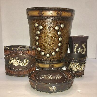 Horse Tooled Leather Look Bathroom Set Accessories Western
