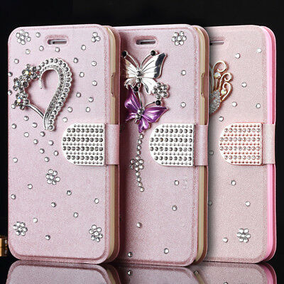 Bling Glitter Diamond Crystal Leather Flip Wallet Case Cover For iPhone Samsung
