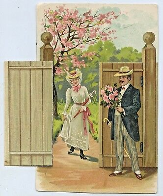1910 Litho Pu Mechanical Flap Lithographed Postcard  Glamour Romance Gd Cond S27