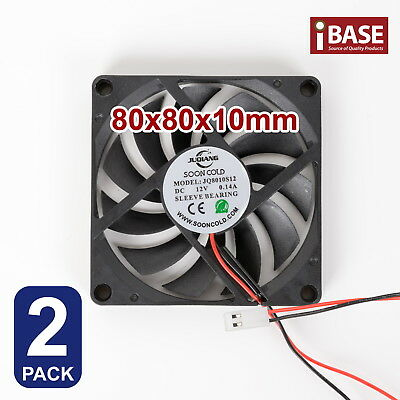 2x Computer Case Fan PC Cooling Cooler Bearing DC 12V Brushless Silent 80 x 80mm
