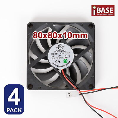 4x Computer Case Fan PC Cooling Cooler Bearing DC 12V Brushless Silent 80 x 80mm