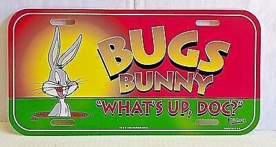 "Licensed Bugs Bunny Loony Toon ""What's Up Doc?"" Plastic License Plate Car Tag"