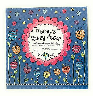 """2019 MOM'S BUSY YEAR 16 Month Wall Calendar 12"""" X 24"""" (open)  258 Stickers"""