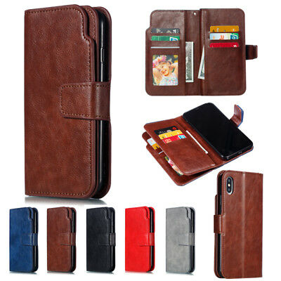 Nine Cards Wallet Leather Flip Case Cover For iPhone XS Max XR 5S 6S 7 8 Plus X