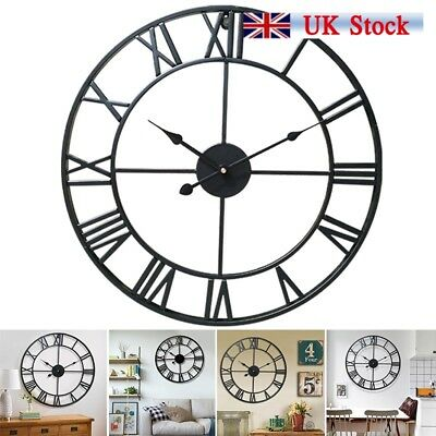 Large Round Metal Skeleton Roman Numeral Indoor/Garden Outdoor Wall Clock UK