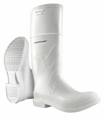 "Dunlop 16""H Men's Knee Boots, Steel Toe Type, PVC Upper Material, White, Size 9"