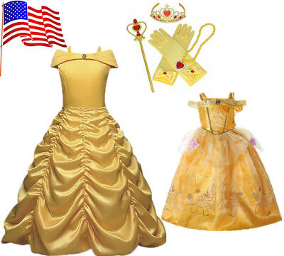 Kids Girl Princess Dress Beauty and the Beast Belle Cosplay Costume Fairytale US