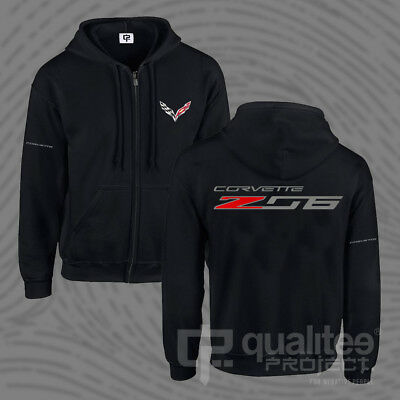 New Corvette Z06 Zo6 Racing Chevrolet Black Printed Hooded Sweatshirt Hoodie