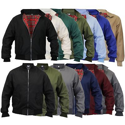 Mens Harrington Jacket New Classic Trendy Vintage Retro Scooter 1970'S Bombers