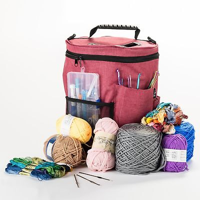 Large Knitting Tote Bag Crocheting Organizer Holder Storage Yarn Craft Case DIY