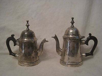 """2 vintage creamer pitcher 5"""" pitchers hinged w/ lid silver-plated black handle"""