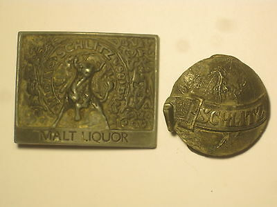 2 vintage SCHLITZ belt buckles buckle lot Malt Liquor Bull & Earth  solid metal