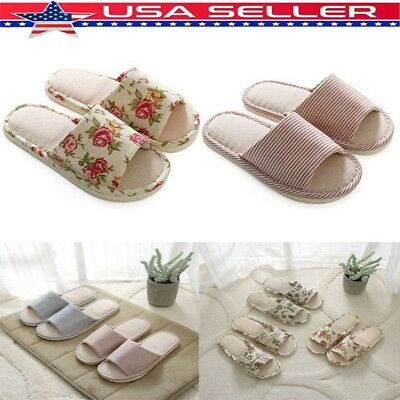 4cc1b48f5dae US Unisex Indoor House Slippers Winter Warm Linen Plaid Shoes Anti-Slip  Slippers