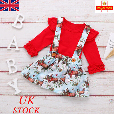 UK Baby Girl 2PCs Flower Outfits Set Dress Skirt Newborn Kids Clothes Romper Top