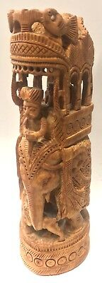 Solid Wood carved elephant with rider indian handcrafted Intricate