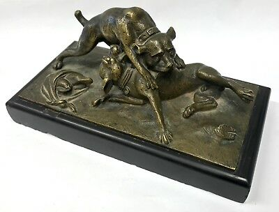Antique French Gilt Bronze Of Two Dogs Fighting Over A Wrap Of Meat Statue