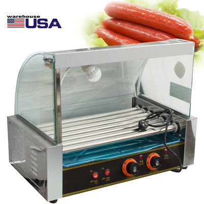 USA Commercial 18 Hot Dog Hotdog 7 Roller Grill Cooker Machine W/ Cover Tray