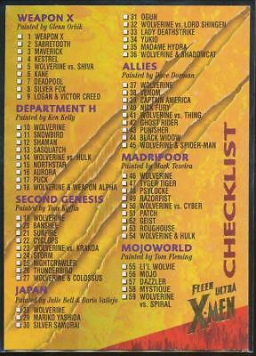 1996 X-Men Ultra Wolverine Trading Card #100 Checklist