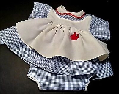 Vintage 1950s 1960s Large Doll Baby Blue White Check Gingham Pinafore Dress Set