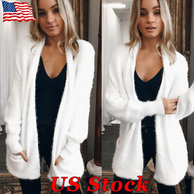 US Winter Women Loose Knitted Sweater Coat White Pocket Cardigan Warm Jacket New