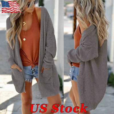 US Womens Ladies Baggy Cardigan Coat Tops Chunky Knitted Pocket Sweater Jumper