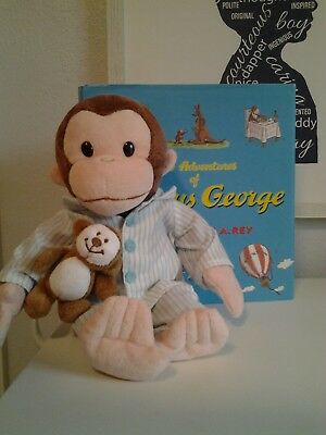 Curious George Plush Stuffed Doll In Pj's And Big Book W 8 Stories H/c With D/j