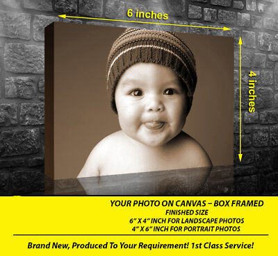 PERSONALISED 6x4 CANVAS PRINT PRINTS YOUR PHOTO ON  18MM DEEP FRAME