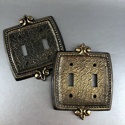 1 Of 2 Vintage Antique Brass Decorative Double Light Switch Plate Cover MCM