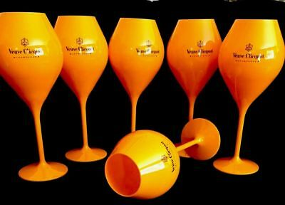 Veuve Clicquot Champagne Orange Acrylic Tasting Glass EXTRA XL Large NEW X 6