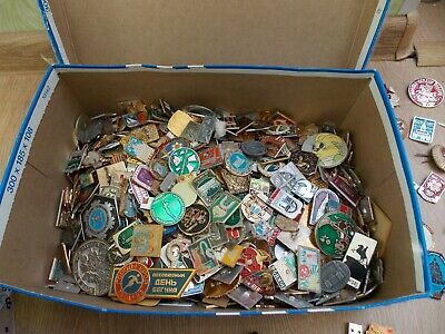 100 Pcs of LOT COLLECTION RUSSIAN SOVIET BADGE PIN USSR Russia 1970-80s