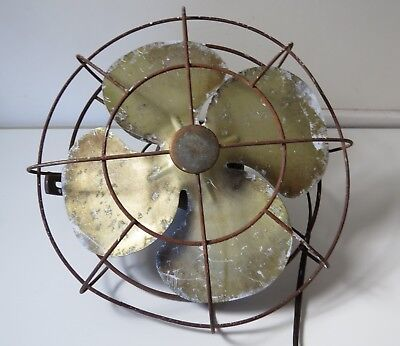 Vintage 1940's/50's Metal Electric Fan w/ Adjustable Wall Mount - Unmarked