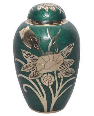 Dome Top Green Cremation Urn, Funeral Urn, Adult Urn