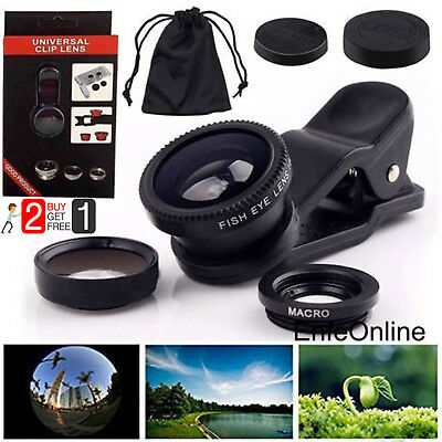 For iPhone 5 5S SE 6 6 Plus 3in1 Clip-on Fish Eye+ Wide Angle+ Macro Camera Lens