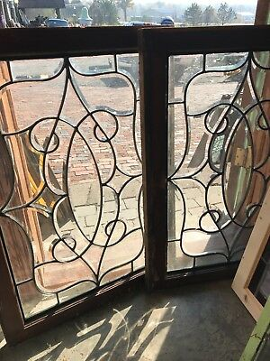 SG 2593 match Pair Antique All Beveled Glass Windows 25 X 34.5