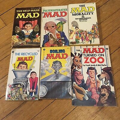 Mad Magazine Lot Of Six Vintage Paperback Books 60's 70's