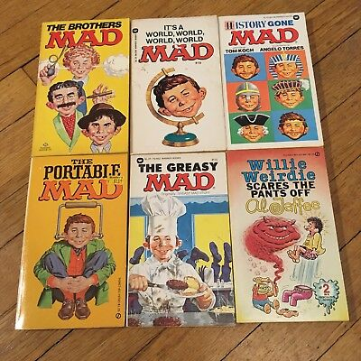 Mad Magazine Lot of Six Vintage Paperback Books 70's 80's Al Jaffee