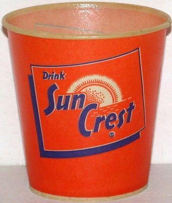 Vintage paper cup DRINK SUN CREST 4oz size unused new old stock n-mint+ cond