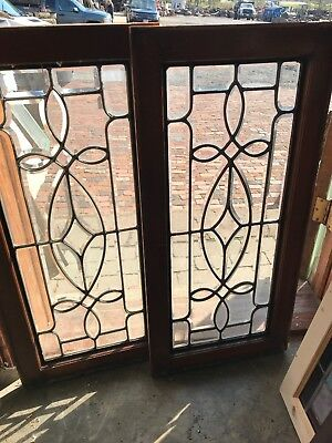 SG 2598 matched pair antique all beveled glass window 16.25 x 34.75