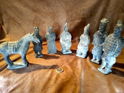 7 GUERREROS DE XIAN TERRACOTA chinese 7 pieces chess set/box/Xian