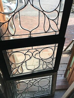 SG 2601 set of three matching antique all beveled glass windows 28.5 x 21.25H