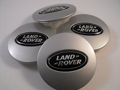 4x Land Rover Silver / Black Wheel Center Caps 63mm Set Centre Caps , UK Stock