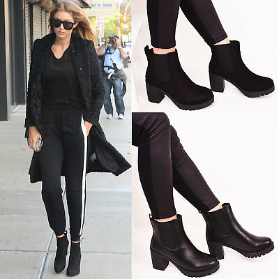 Womens Mid Block Heel Ankle Boots Casual Winter Walking Fashion Shoes Size 3-8