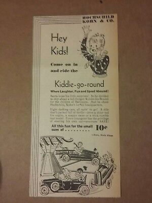 1934 Hochschild Kohn & Co Kiddie Go Round Ride Ad 10 Cents