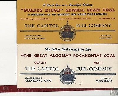 2 vintage Capitol Fuel Company Coal blotters Cleveland Ohio OLD FREE SHIPPING