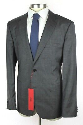 NWT HUGO BOSS RED LABEL Jeffery Simmons Charcoal Plaid Wool Suit 44R Regular Fit