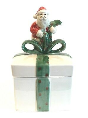 Fitz and Floyd Vintage Santa Covered Candy Trinket Box