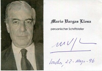 WRITER Mario Vargas Llosa NOBEL PRIZE IN LITERATURE autograph, signed card